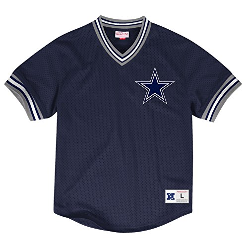 Dallas-Cowboys-Mitchell-Ness-NFL-Mens-Mesh-V-neck-Jersey-Trikot-Shirt-0